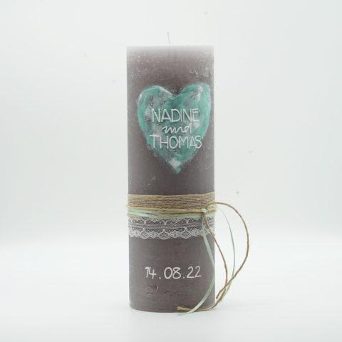 Hochzeitkerze Watercolor Mint