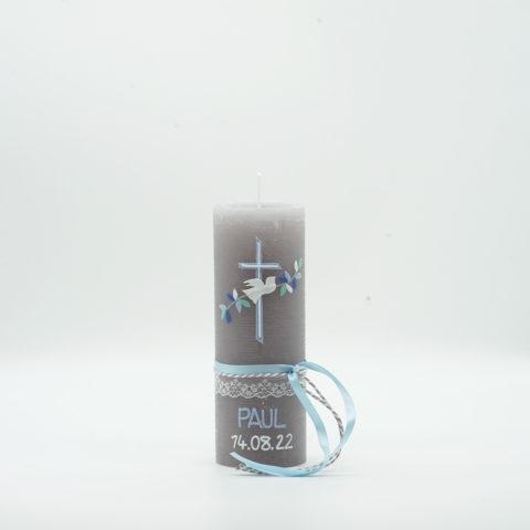Taufkerze Friedenstaube Blau