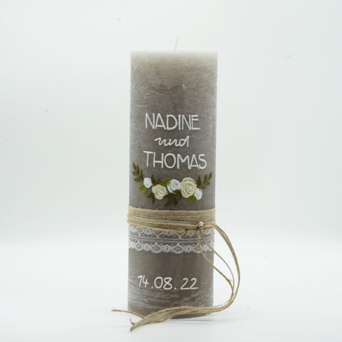 Hochzeitskerze Blumenranke Elfenbein