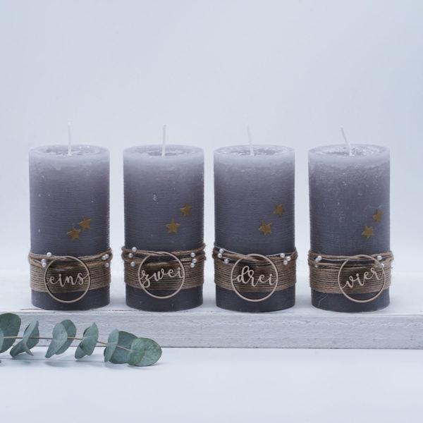 Advent Holzanhänger Silbergrau