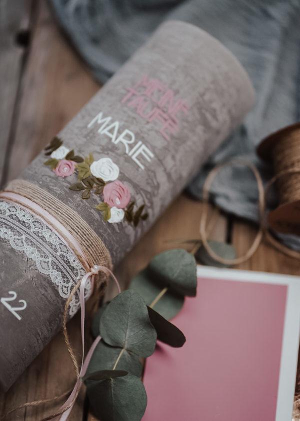 Taufkerze Blumenranke Rosa