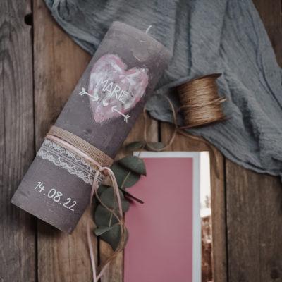 Hochzeitskerze Watercolor Rosa
