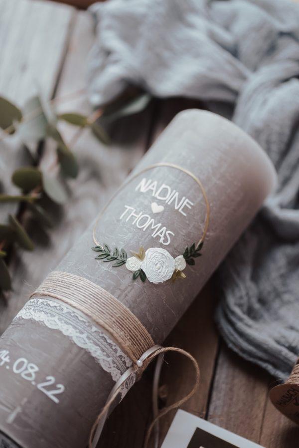 Hochzeitskerze BlumenHoop Elfenbein