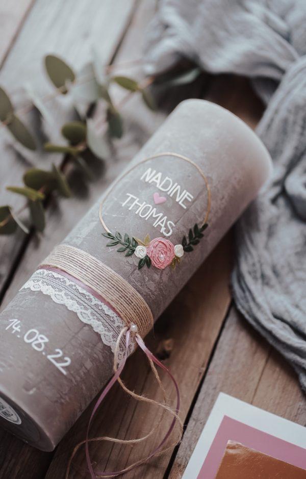 Hochzeitskerze BlumenHoop Rosa